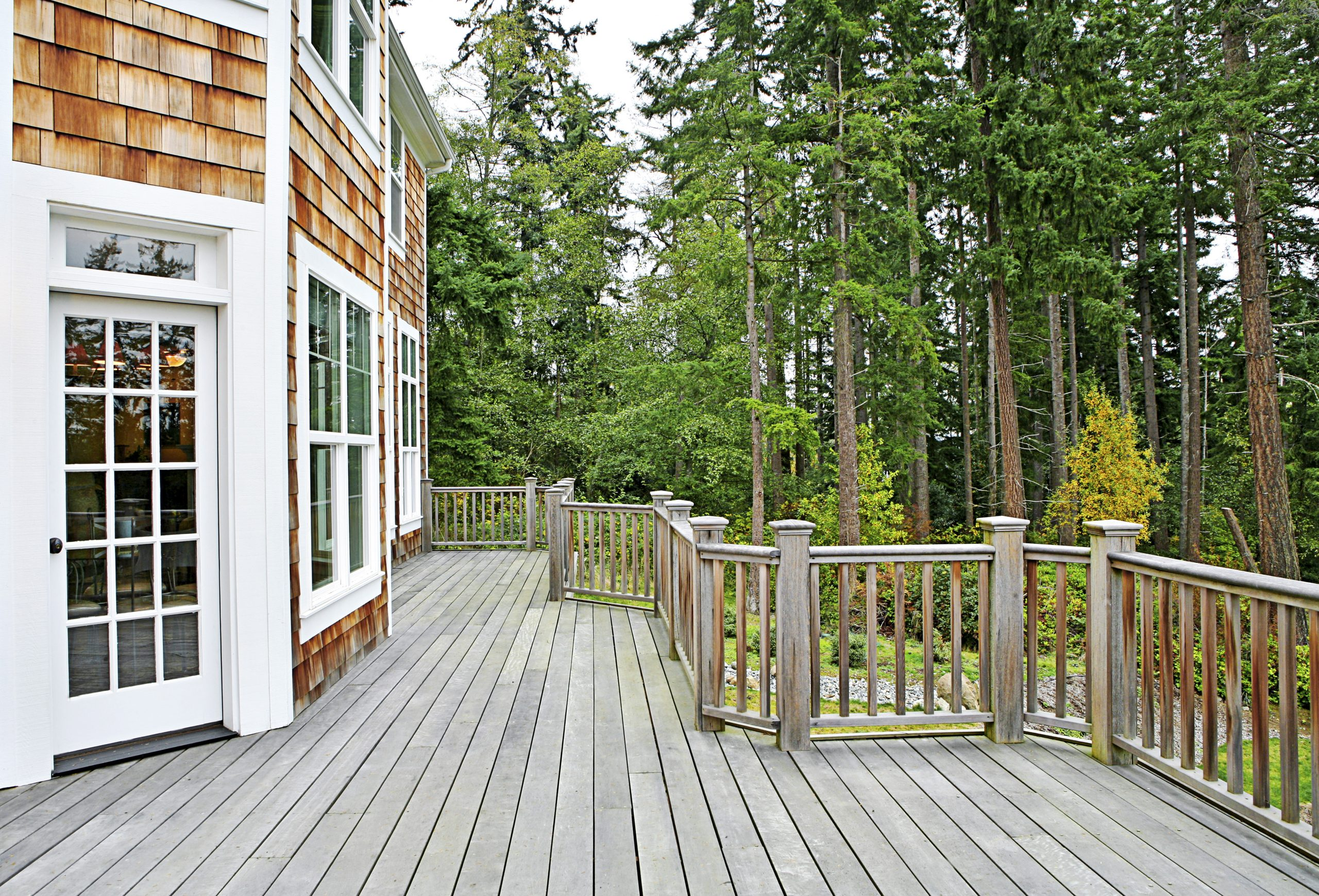 Wooden deck on house